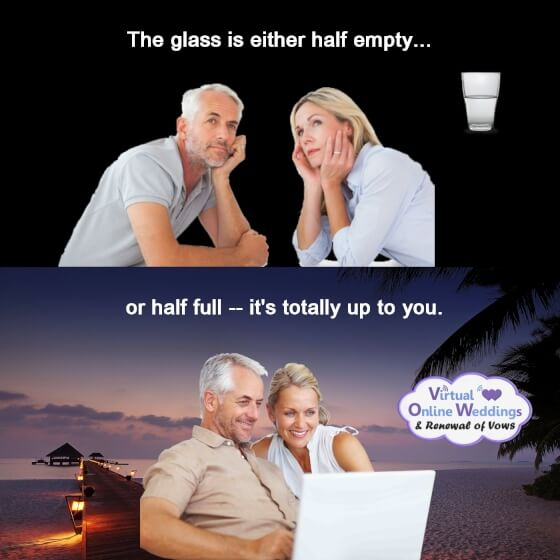 Bored couple at top with half empty glass, text: