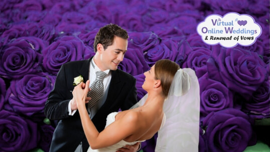 Caucasian couple in formal wedding attire, with groom holding anddipping bride against a purple rose background. VOWs logo.