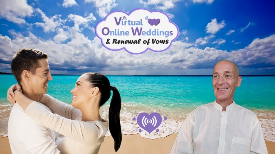 Happy couple with Virtual Celebrant in VOWs ceremony, with beautiful sea and clouds background, plus Introduction to Virtual Online Weddings logo.