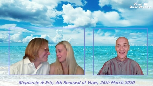 Lovely couple green screen against beautiful ocean picture and clouds overahead, with Virtual Celebrant's video box next to theirs.