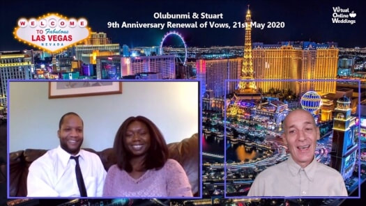 Handsome African American couple and Virtual Celebrant with Las Vegas mains strip aerial view as background and also VOWs logo plus famous Welcome to Las Vegas Sign.